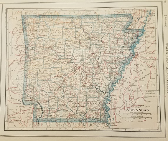 Arkansas Map,Little Rock Hot Springs Fort Smith Helena Wynne,United States  State Maps,USA Wall Map Art,Place on the World Map,1920\'s 8x10