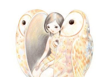 "Art Print - ""Haunted"" - 8x10 barn owl girl nature illustration"