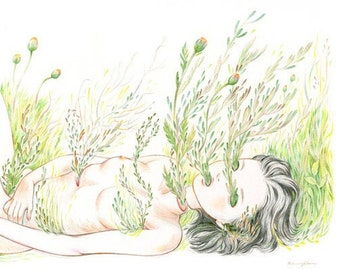 "Art Print - ""Thoughts of You"" - 8x10 botanical plants nature illustration"