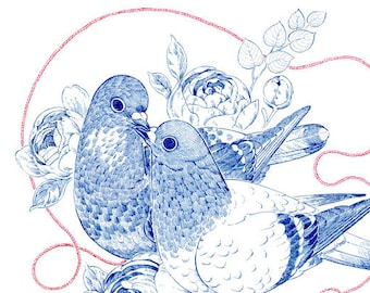 """Art Print - """"Two Hearts of a Feather"""" - 8x10 rock pigeon peonies valentine nature illustration"""