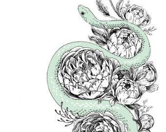 "Art Print - ""Snek & Peonies"" - 6x8 snake serpent flowers nature illustration"