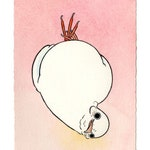 "Original Artwork - ""Upside Down Dove"" - bird pigeon dove ink watercolor drawing painting"