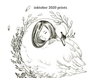 "Art Print - ""Inktober 2020"" - 4x6 or 5x7 pigeon dove cute bird illustration"