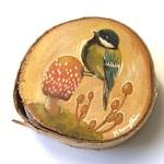 "Original miniature Artwork - ""Autumn Great Tit Bird"" - green songbird mushroom acrylic painting on wood slice"