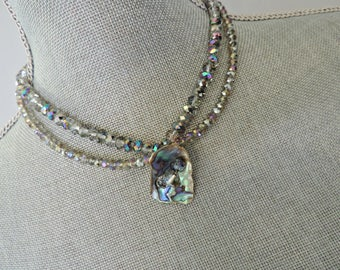 Holiday Shine: Oh La La Necklace// Artisan Necklace// Statement Necklace//Cut Crystal Necklace