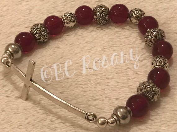 Silver Cross Red Stretch Bracelet