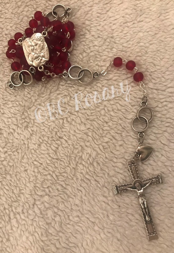 Catholic Wedding Recycled Red Glass Rosary