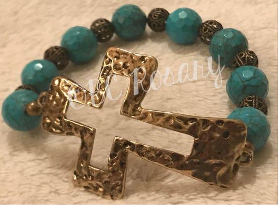 Antiqued Bronze Turquoise Magnesite Stretch Bracelet