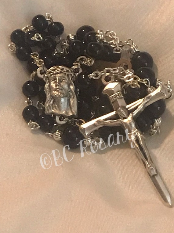 Catholic Crown of Thorns Black Onyx Rosary