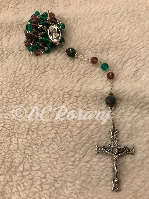 Catholic Purple/Emerald Sacred Heart Rosary