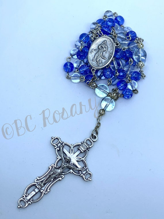 Catholic Blue Glass Assumption Rosary