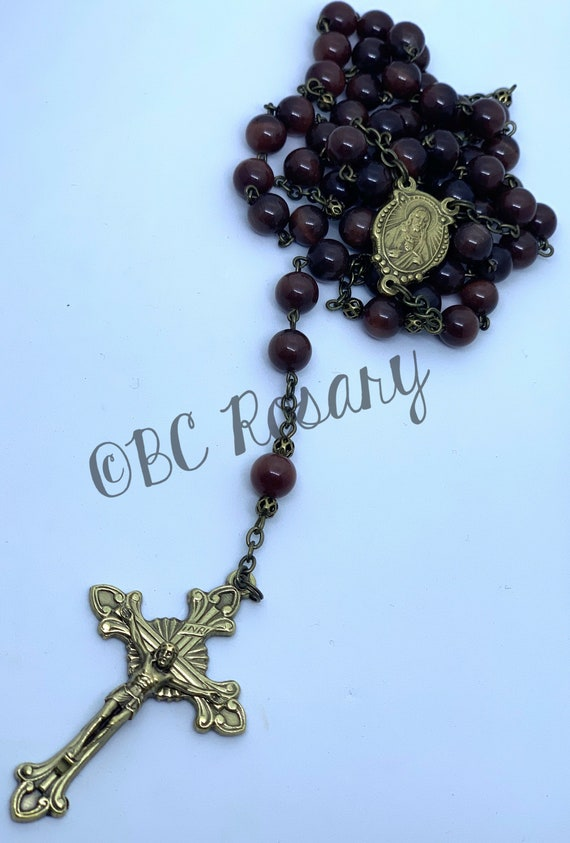Catholic Czech Glass Bronze Rosary