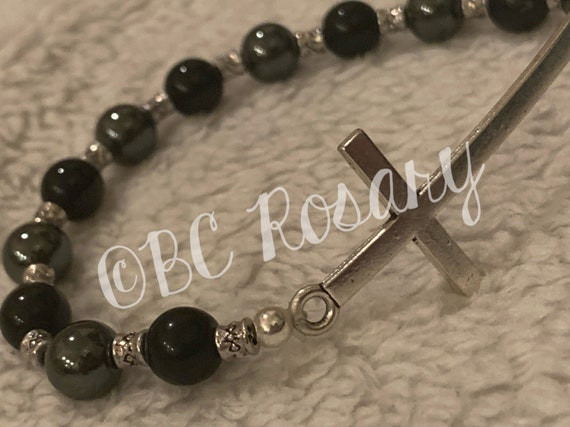 Silver Cross Black/Hemitite Stretch Bracelet