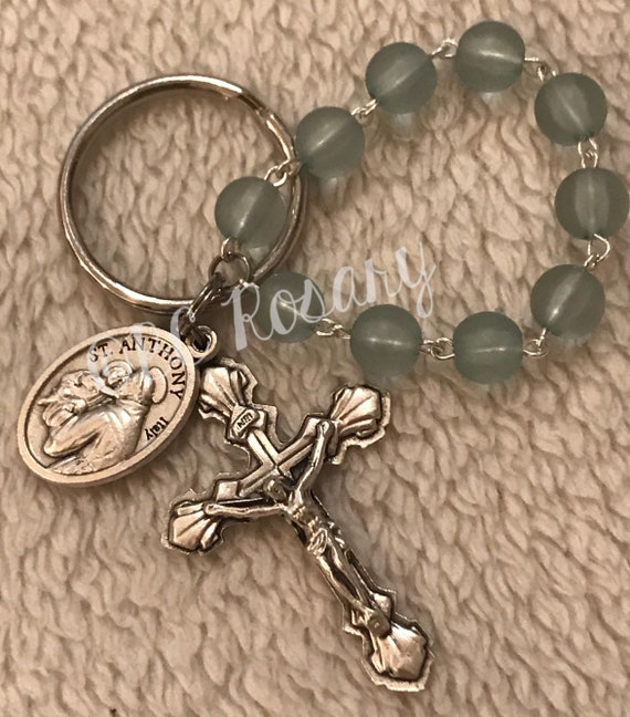 St. Anthony/St. Christopher Recycled Glass Keychain