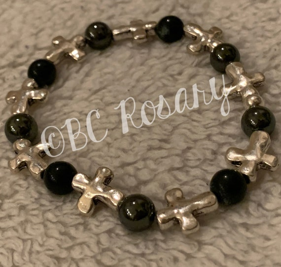 Silver Cross Onyx/Hematite Stretch Bracelet