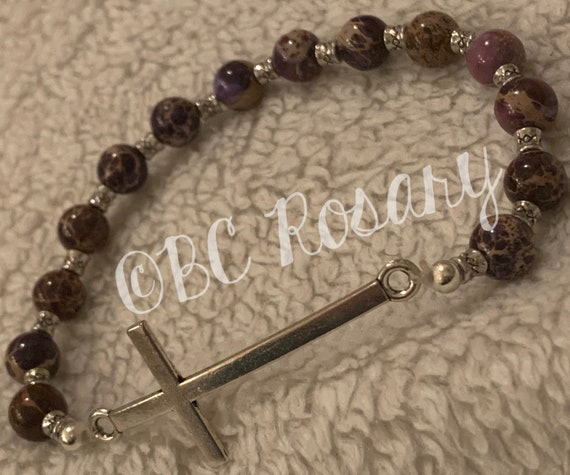 Silver Cross Purple Stretch Bracelet