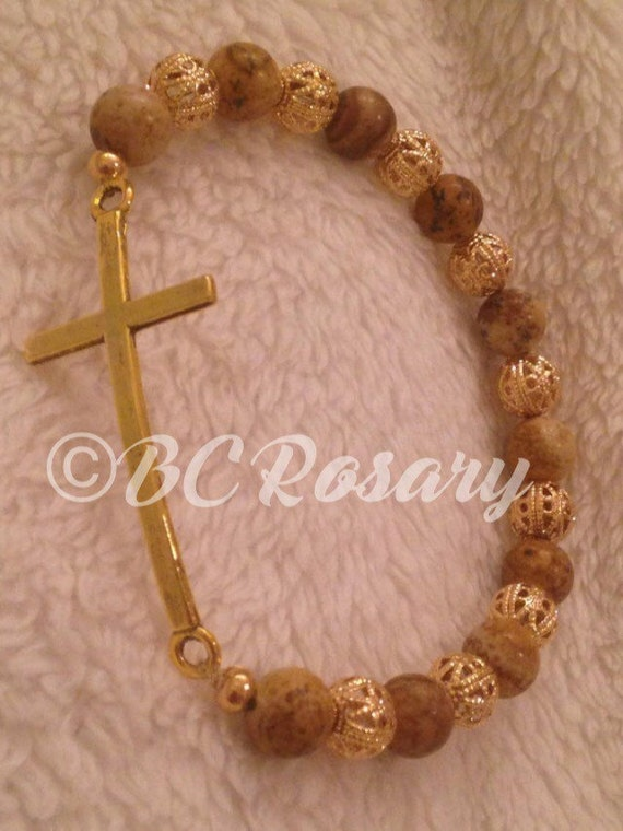 Gold Picture Jasper Stretch Cross Bracelet