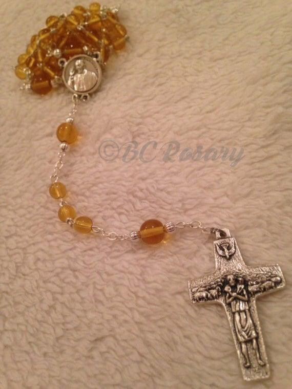 Catholic Pope Francis Canary Yellow Rosary