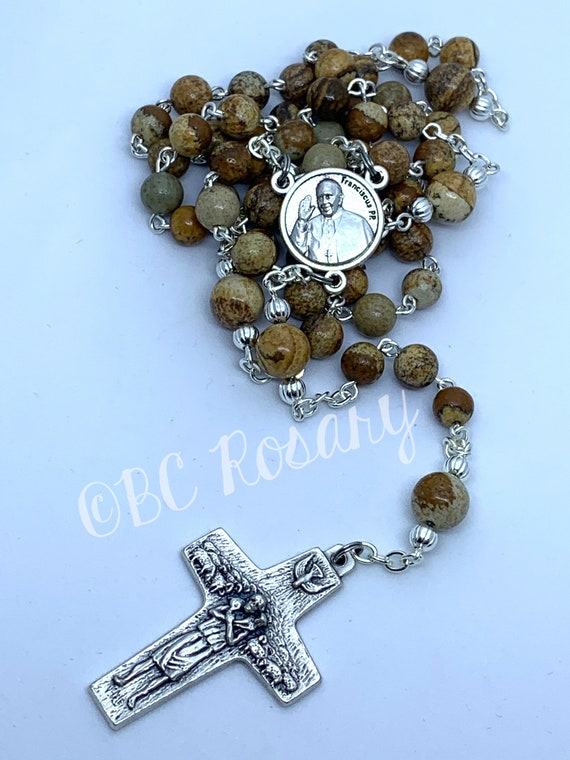 Catholic Picture Leopardskin Jasper Rosary
