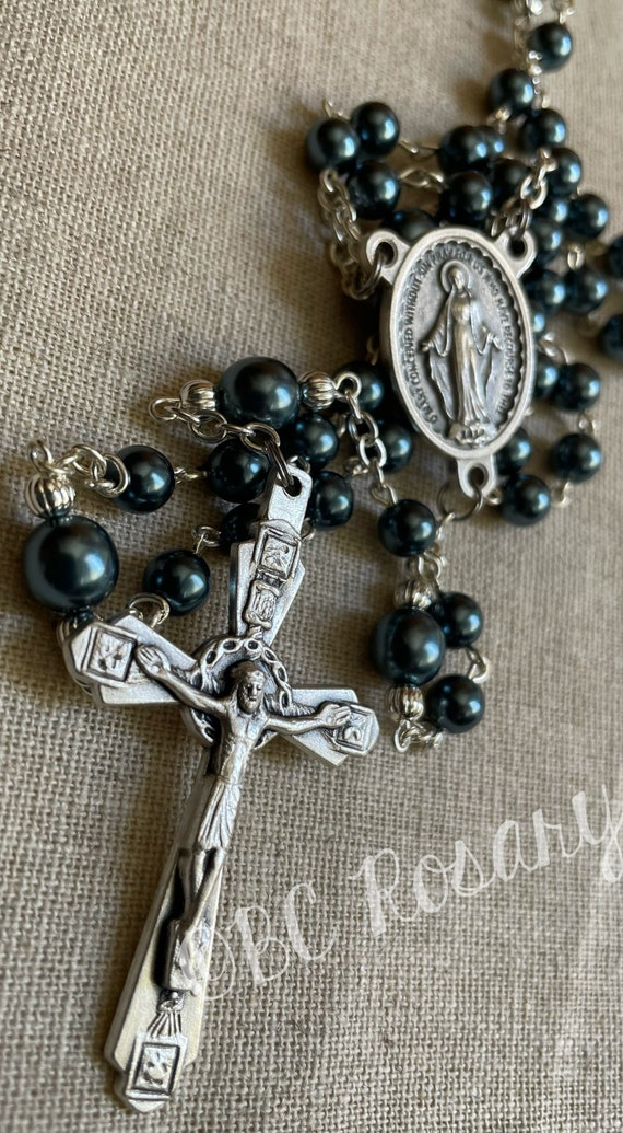 Catholic Satin Blue Miraculous Medal Rosary