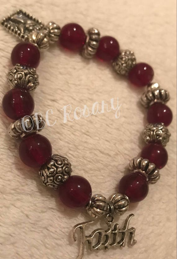 Red Faith Stretch Bracelet