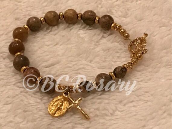 Catholic Leopardskin Jasper Rosary Bracelet