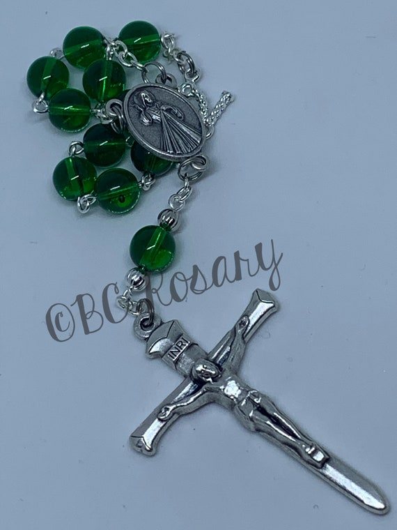 Catholic Green Divine Mercy Auto Rosary