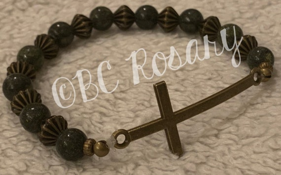 Bronze Cross Green Stretch Bracelet