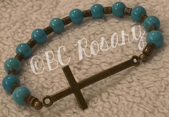 Bronze Cross Turquoise Stretch Bracelet