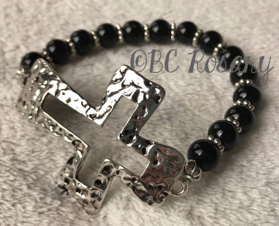 Antiqued Silver Cross Onyx  Stretch Bracelet