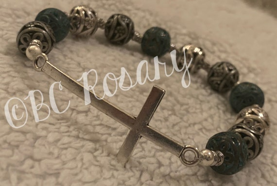 Silver Cross Stretch Bracelet