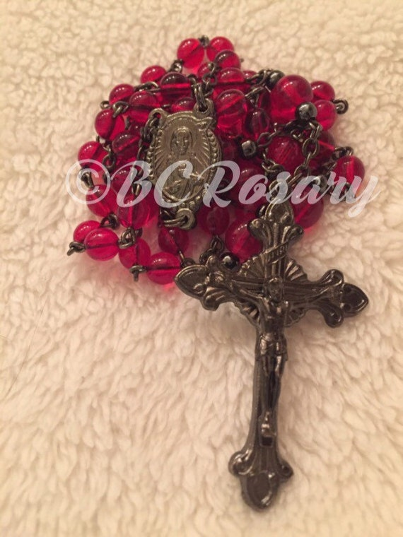 Catholic Gunmetal Red Glass Rosary