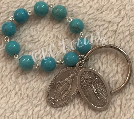 Catholic Turquoise Miraculous Medal/St. Christopher Keychain