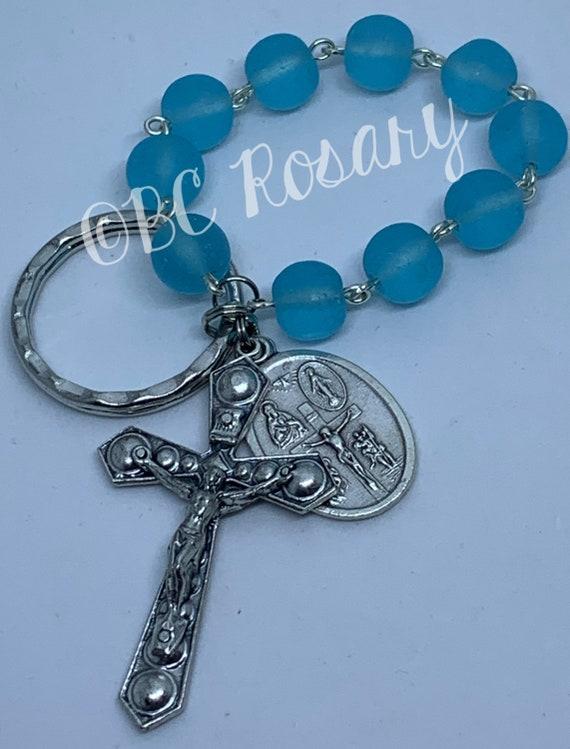 Catholic Sky Blue Recycled Glass Keychain