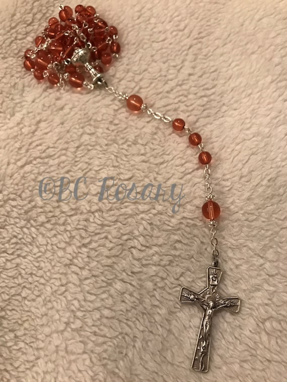 Catholic Communion Pink Glass Rosary