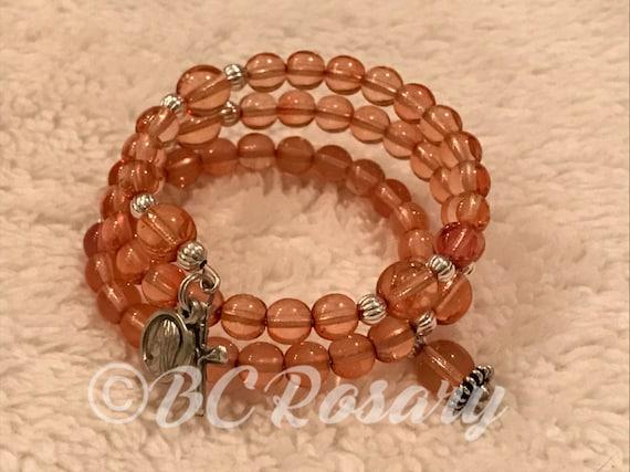 Peach Memory Wire Rosary Bracelet