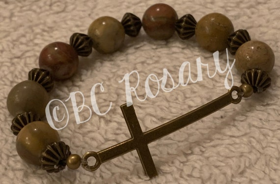 Bronze Cross Leopardskin Jasper Stretch Bracelet