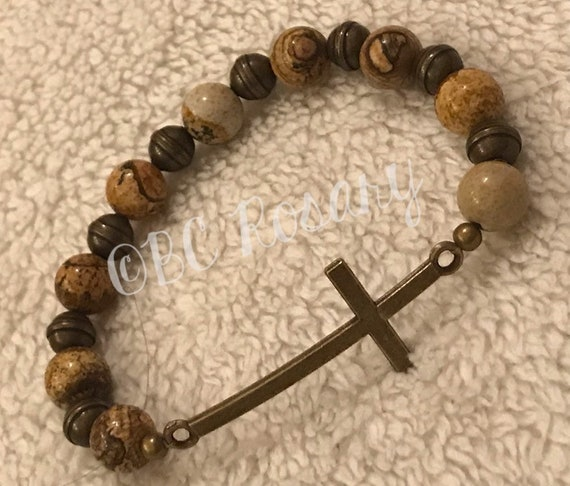 Bronze Cross Picture Jasper Stretch Bracelet