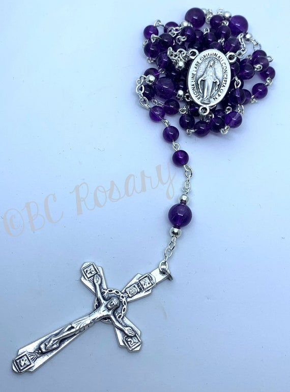 Catholic Purple Czech Glass Rosary