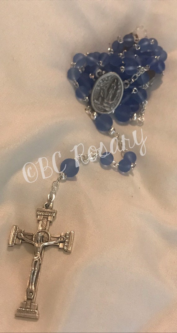 Catholic Lourdes Blue Recycled Glass Rosary