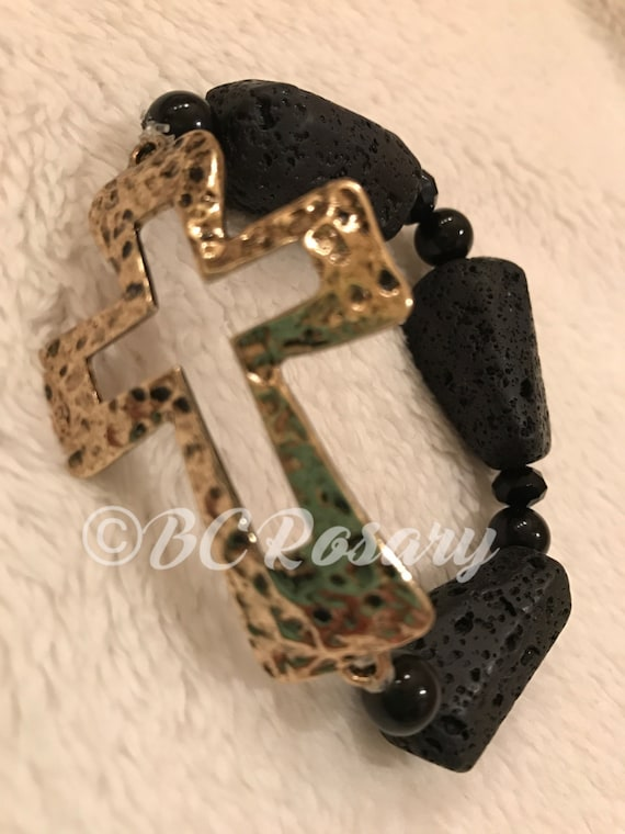 Antiqued Gold Cross Lava Rock Stretch Bracelet