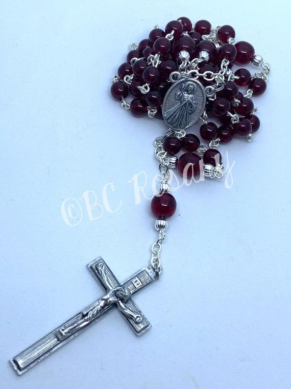 Catholic Garnet Divine Mercy Rosary