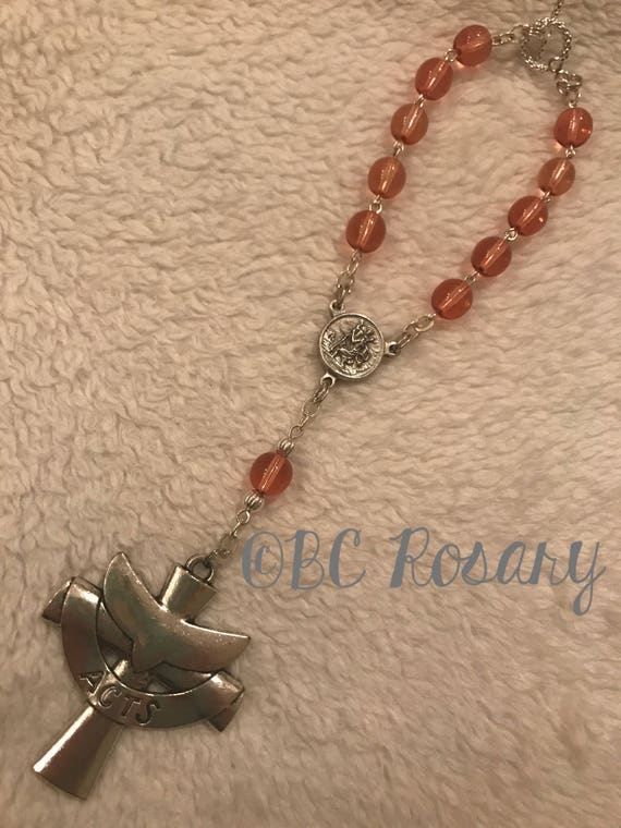 Catholic Peach Auto Rosary