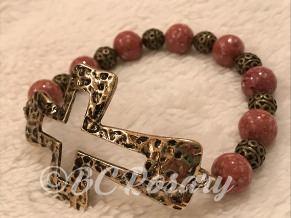 Antiqued Gold Cross Rose Stretch Bracelet