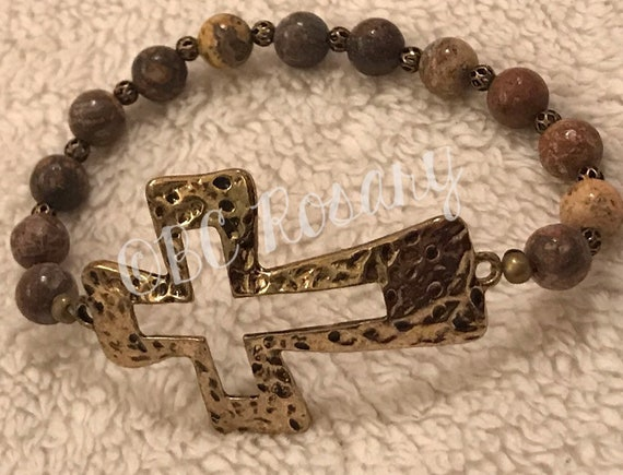Antiqued Gold Cross Picture Jasper Stretch Bracelet