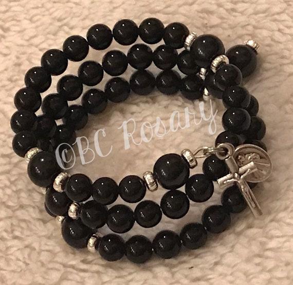 Black Onyx Memory Wire Rosary Bracelet