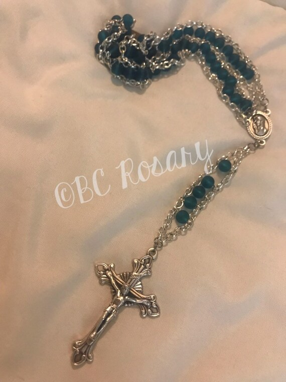 Catholic Blue Glass Ladder Rosary
