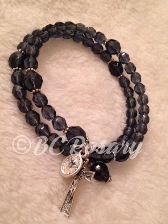 Montana Blue Memory Wire Rosary Bracelet