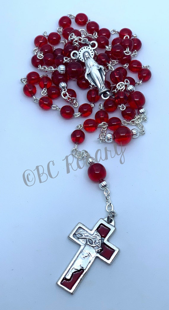 Catholic Red Czech Glass Rosary