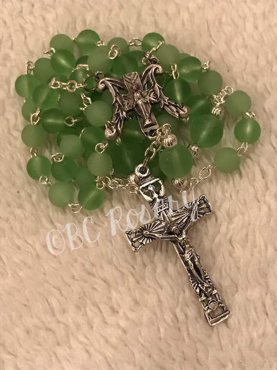 Catholic Recycled Glass Sage Rosary